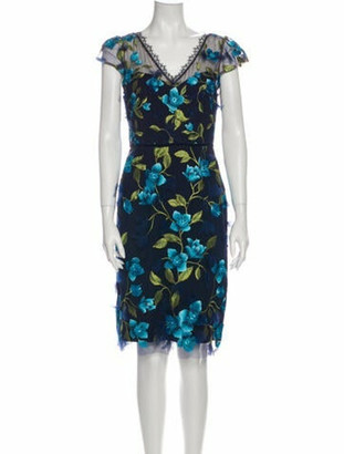 Marchesa Notte Floral Print Knee-Length Dress w/ Tags Blue