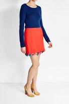 Mary Katrantzou Wool Skirt with Flower Appliqués