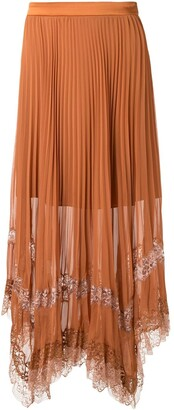 Jonathan Simkhai Lace Inserts Pleated Skirt