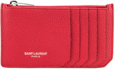 Saint Laurent Zipped Fragments Credit Card Case in Rouge Eros | FWRD