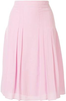 Giambattista Valli Pleated Silk Midi Skirt