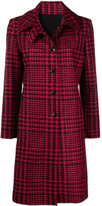 Manuel Ritz Houndstooth Single-Breasted Coat