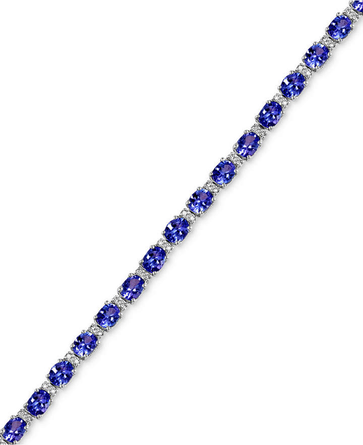 Effy Tanzanite (8-7/8 ct. t.w.) and Diamond (1/4 ct. t.w.) Tennis Bracelet in 14k White Gold, Created for Macy's