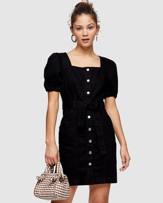 Topshop Denim Button-Through Puff Sleeve Dress