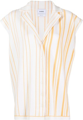 Barrie Striped Cashmere-Blend Sleeveless Shirt