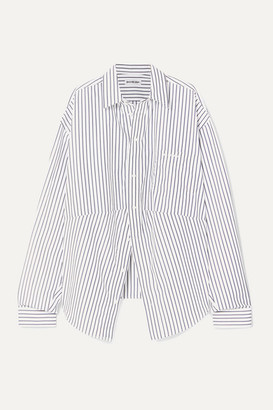 Balenciaga Swing Oversized Embroidered Striped Cotton-poplin Shirt - Blue