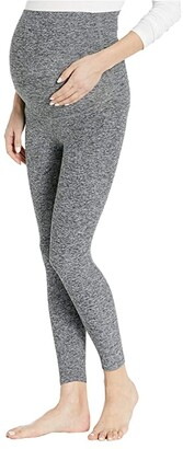 Beyond Yoga Maternity Empire Waisted Capri Leggings (Black/White Spacedye) Women's Casual Pants