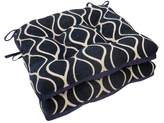 Essentials Gemma Chenille Geometric Chair Pads With Tiebacks (Set Of 4)