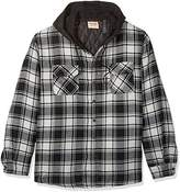 Wrangler Men's Big and Tall Long Sleeve Quilted Lined Flannel Shirt Jacket With Hood