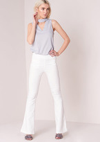 Missy Empire Ann Marie White High Waisted Flared Trousers