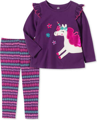 Kids Headquarters Toddler Girls 2-Pc. Long Sleeve Unicorn Tunic & Printed Leggings Set