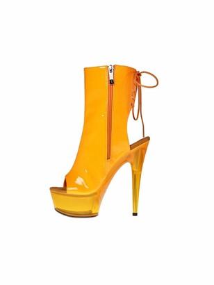 """The Highest Heel Amber 601 6"""" Heel Platform Ankle Bootie Orange Neon US Size 8"""