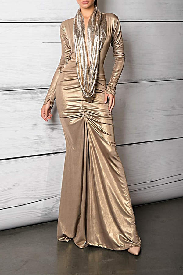 Savee Couture Metallic Cowl Neck Dress