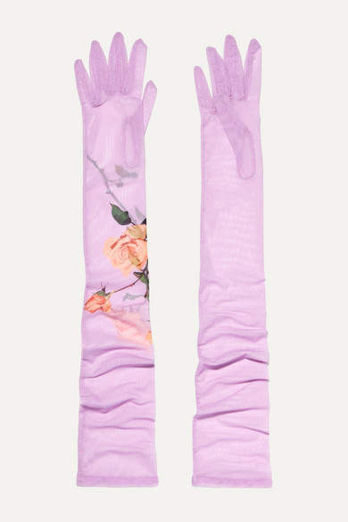 Dries Van Noten Floral-print Stretch-tulle Gloves - Lilac