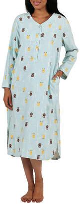 La Cera Long Sleeve Printed Flannel Sleepshirt