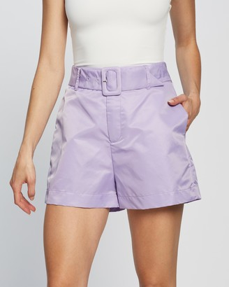 Dazie - Women's Purple High-Waisted - New York Belted Shorts - Size 6 at The Iconic