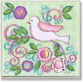 Stupell Industries The Kids Room by Stupell Pink Bird Facing Left on a Floral Branch Square Wall Plaque