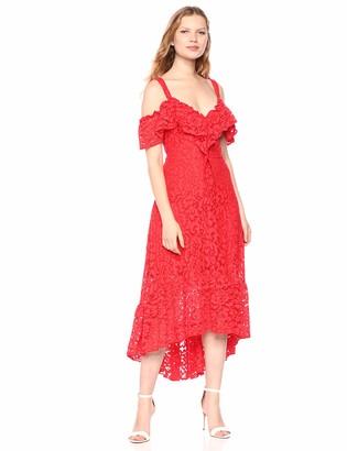BCBGMAXAZRIA Azria Women's Lace High-Low Flared Dress