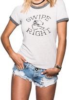 Sugar Women's Swipe Right Retro Ringer Tee - Sand