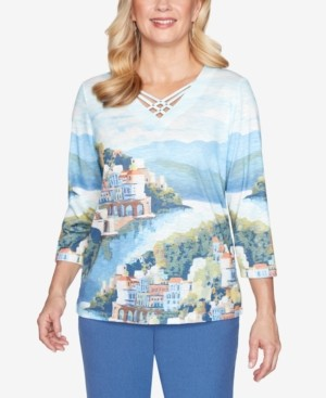 Alfred Dunner Petite Palo Alto Printed 3/4-Sleeve Top