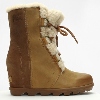 Sorel Joan Of Arctic Shearling Camel Brown Leather Wedge Boots
