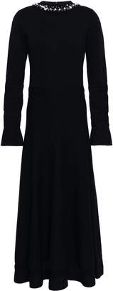 Oscar de la Renta Open Knit-trimmed Embellished Wool And Silk-blend Maxi Dress