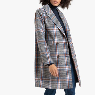 La Redoute Collections Double-Breasted Boyfriend Coat in Checked Print