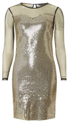 Dorothy Perkins Womens Black And Gold Long Sleeve Bodycon Dress, Gold
