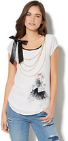 New York & Co. Limited Edition - Ribbon Accent & Faux Pearl-Trim T-Shirt