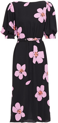 Kate Spade Belted Floral-print Cady Midi Dress