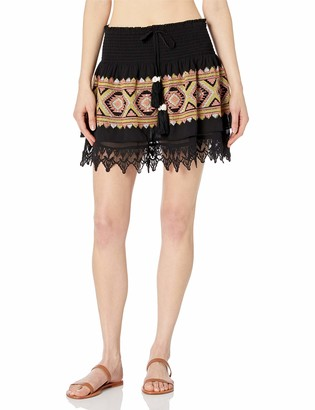 Ramy Brook Women's Lotus Embroidered Mini Skirt Coverup