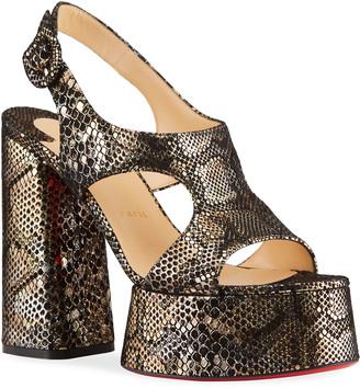 Christian Louboutin Foolish Metallic Snake-Print Red Sole Platform Sandals