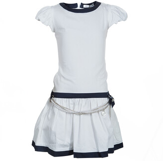 Gianfranco Ferre GF White Pearl Belted Short Sleeve Dress 6 Yrs