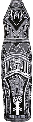 Balmain Geometric Jacquard Fitted Dress