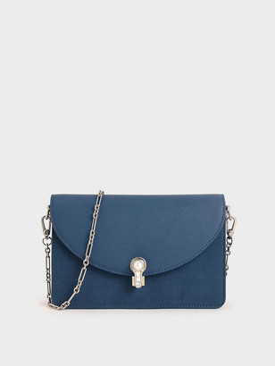Charles & Keith Textured Turn-Lock Clutch