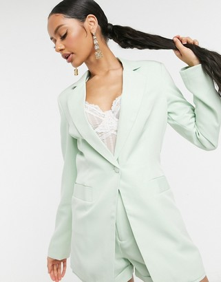UNIQUE21 tailored single button blazer in sage green