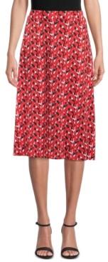 Kasper Petite Printed A-Line Midi Skirt