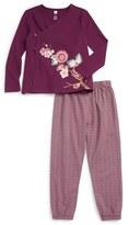 Tea Collection Akira Graphic Floral Wrap Top & Leggings Set (Toddler Girls)