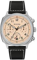 Bulova Military Men's Quartz Watch with Beige Dial Analogue Display and Black Leather Strap