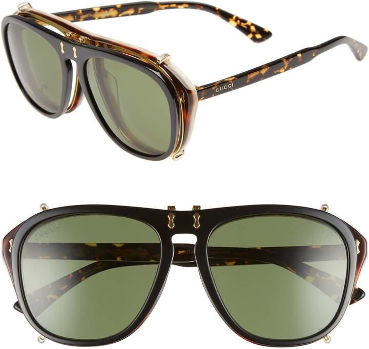 Gucci Pilot 56mm Flip-Up Sunglasses