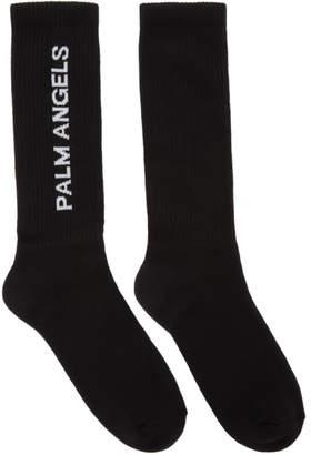 Palm Angels Black Vertical Logo Socks