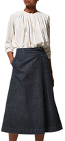 Toast Long Stretch Denim Skirt, Indigo