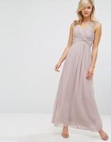 Little Mistress Embellished Shoulder and Drape Front Maxi Dress