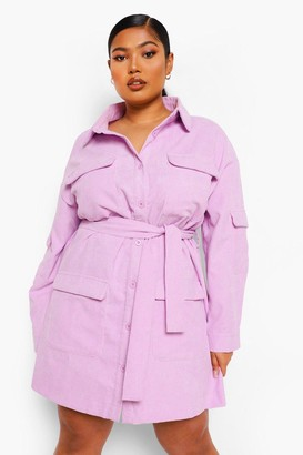 boohoo Plus Cord Pocket Utility Shirt Dress
