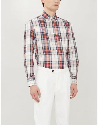 Brunello Cucinelli Checked cotton and linen-blend shirt
