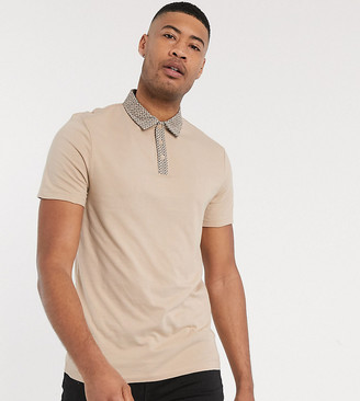 Asos DESIGN Tall organic cotton skinny polo with printed woven collar