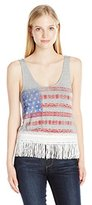 My Michelle Juniors Tank Top with Screen Print At Front and Tassle Trim At Hem