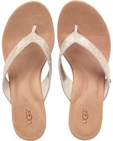 UGG Womens Natassia Metallic Basket Wedge Sandals Soft Gold