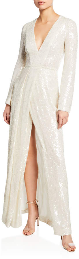 Galvan Long-Sleeve Sequin-Embroidered Gown