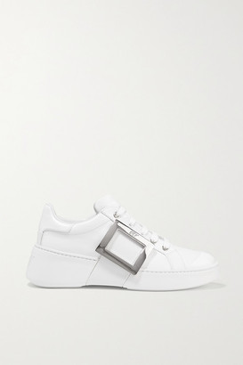 Roger Vivier Skate Embellished Rubber-trimmed Leather Sneakers - White